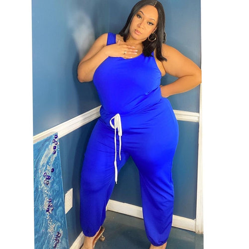 Plus Size Jogger Jumpsuit in Royal Blue