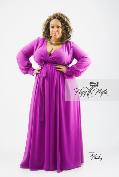 Women's Plus Size VERY SPECIAL Chiffon Wrap Maxi Dress with Attached Tie in Violet