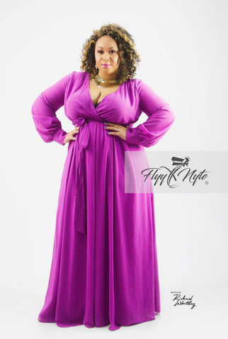 Plus Size Faux Wrap Maxi with Attached Tie in Blue and Orange