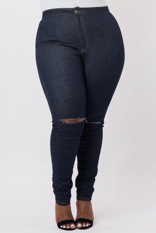 Plus Size Denim Jeans with Slit in Knee in Dark Wash - Flyy By Nyte
