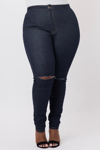 Plus Size Ripped Jeggings in Black