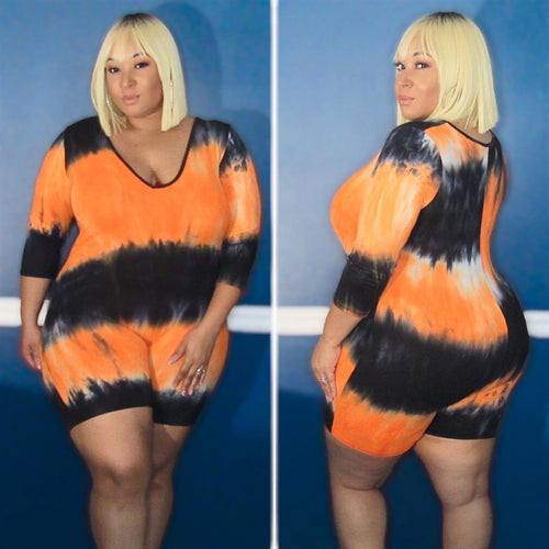 Plus Size V Neck Romper in Blue and Orange Tie Dye Print