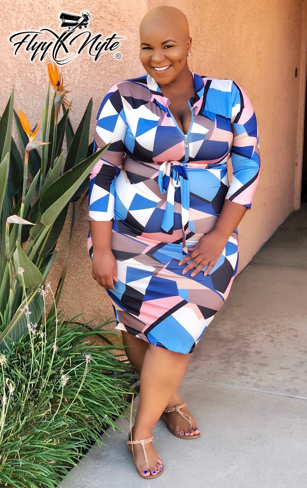 Women's Plus Size 3/4 Sleeve Faux Wrap Midi Dress with Attached Tie In Pink Blue and Light Blue - Flyy By Nyte