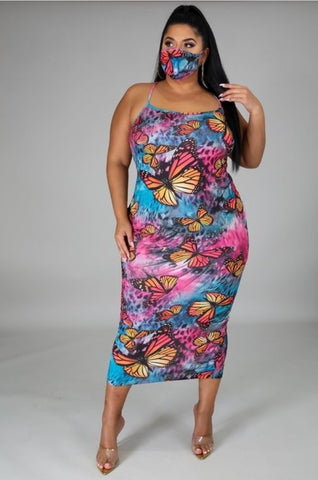 New Plus Size Off Shoulder Knee Length Dress in Multi Colors