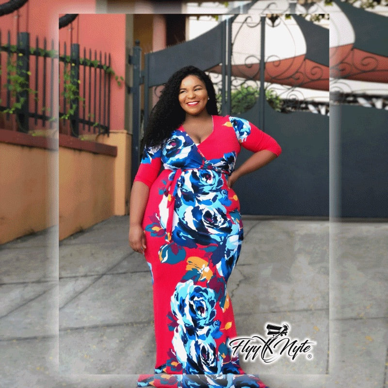 Plus Size CURVESLAYER Short Sleeve Maxi Dress in Red with Blue Flower Print - Flyy By Nyte