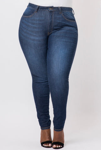 Plus Size CHELSEA Hi-Lo Denim Skirt in Dark Wash