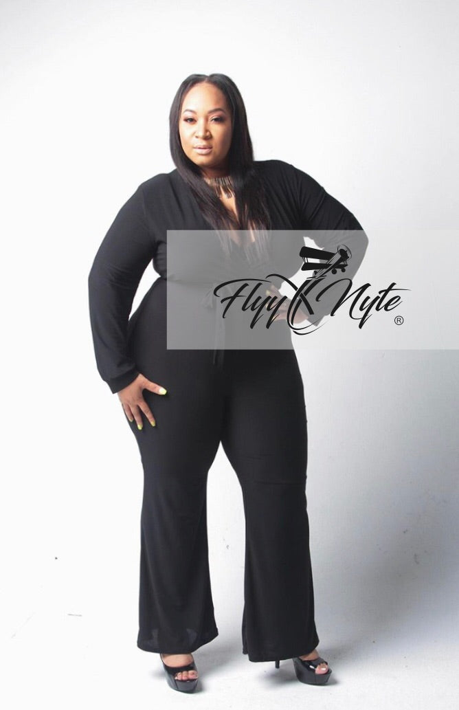 a4235ba9185d Plus Size Long Sleeve Jumpsuit with Attached Tie in Black