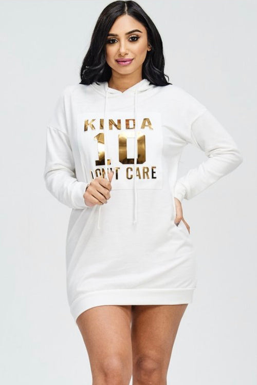 New Plus Size Hoodie Mini Dress in White with Gold Lettering