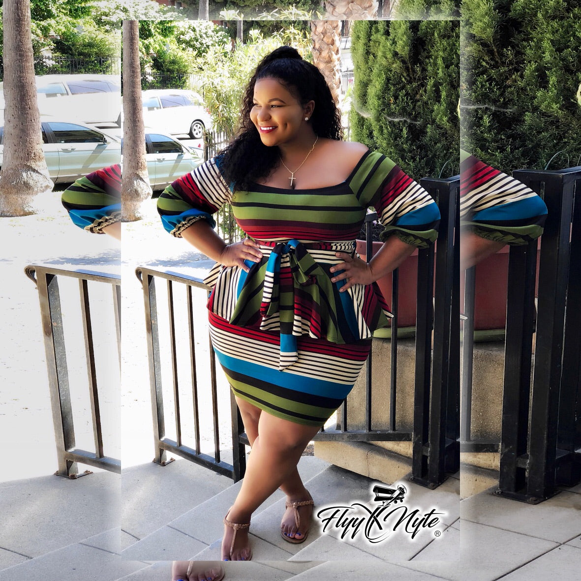 Women's Plus Size CURVESLAYER 3/4 Sleeve Teal Striped Peplum Dress with Front Tie - Flyy By Nyte