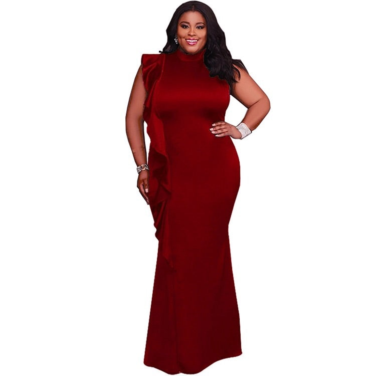 Plus Size Sleeveless Maxi Dress with Side Ruffle in Burgundy