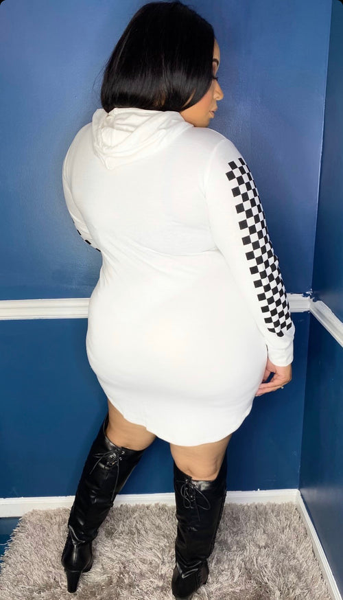 New Plus Size Hoodie Mini Dress in White with Checker Sleeves