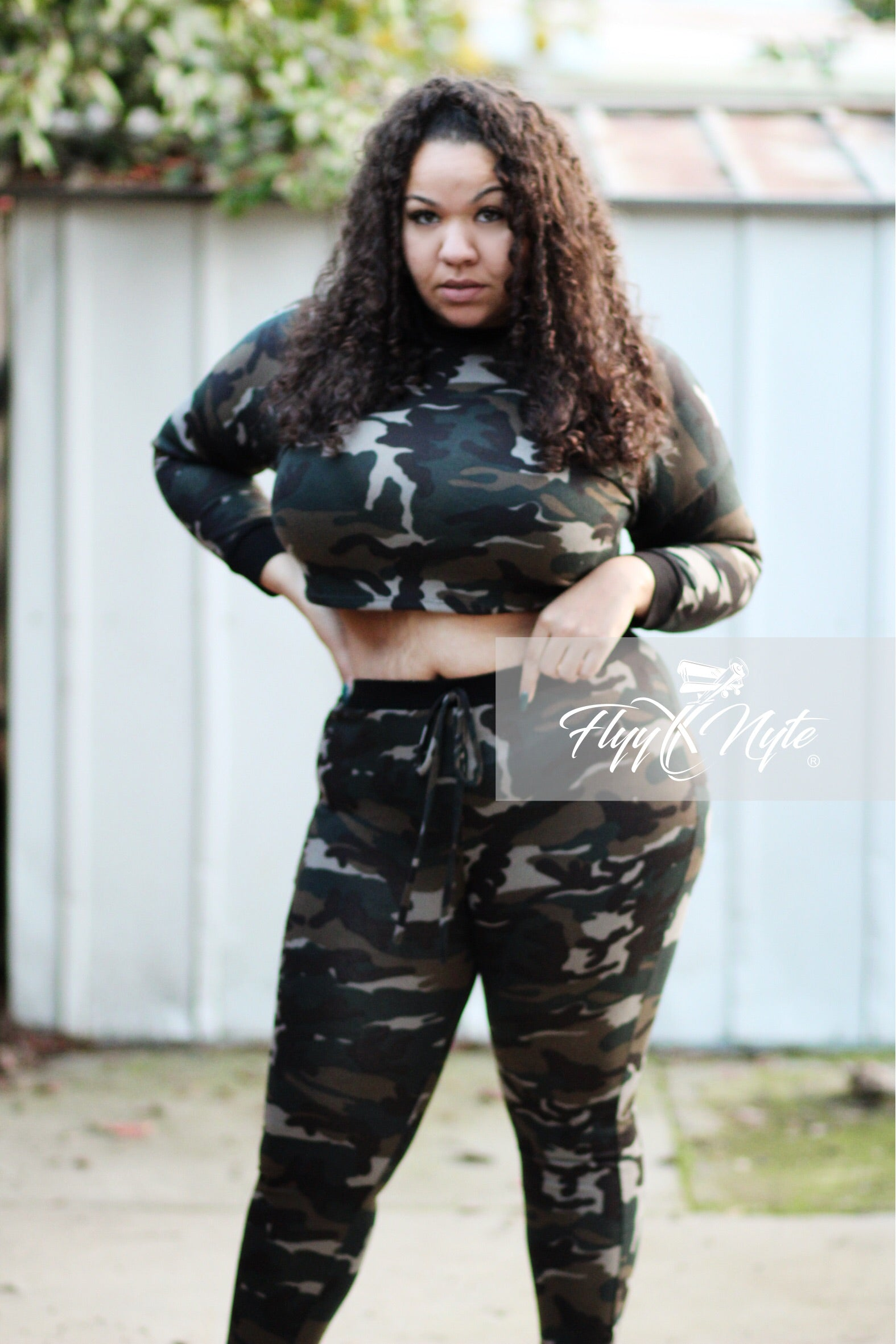 Final Sale Plus Size Long Sleeve Crop Top and 3/4 Leggings in Green Tan and Black Camo Print