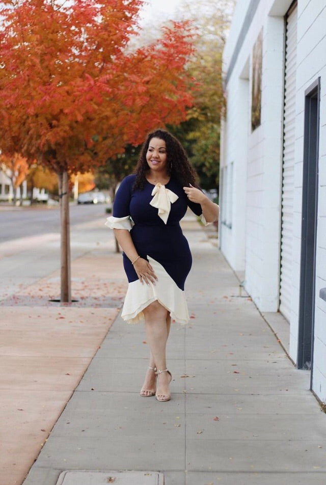 Women's Plus Size HEATHER 3/4 Sleeve Midi Dress in Navy Blue and Cream - Flyy By Nyte