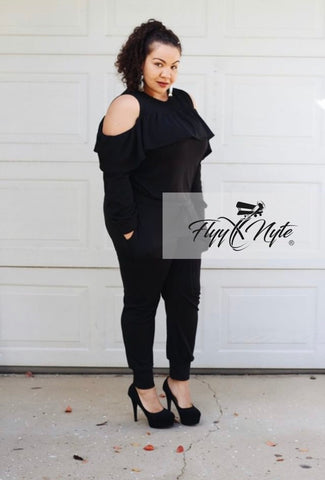 Plus Size Off Shoulder Knit Dress with Ruffle Hem in Black