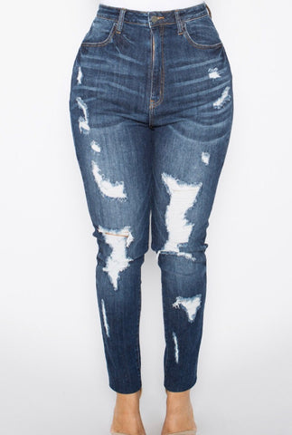Plus Size Distressed Jeggings with Frayed Hem in Dark Wash