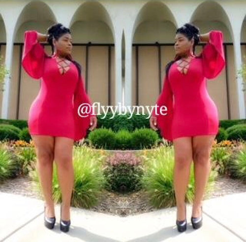 Women's MAMACITA Mini Dress with Bell Sleeves in Red - Flyy By Nyte