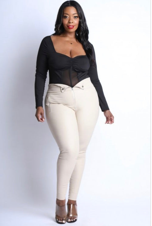 Plus Size PU Leggings with Front Zipper in Tan
