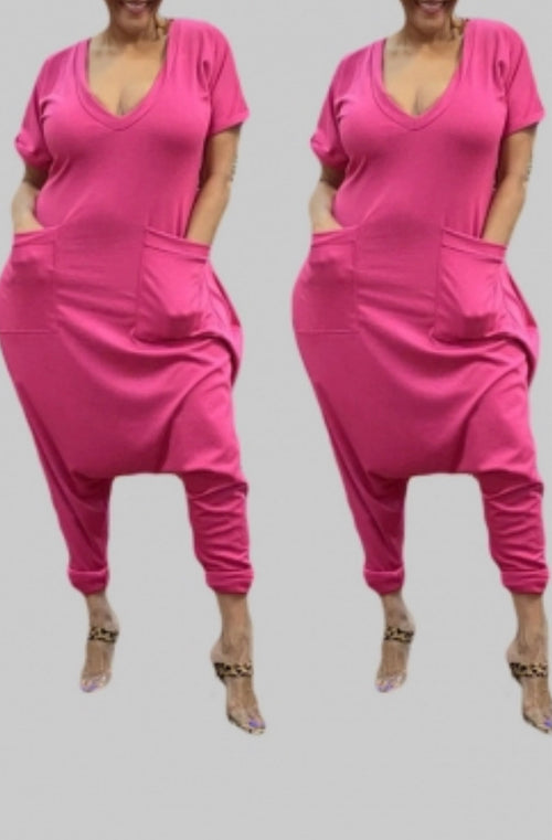 Plus Size V Neck Harem Jumpsuit in Pink