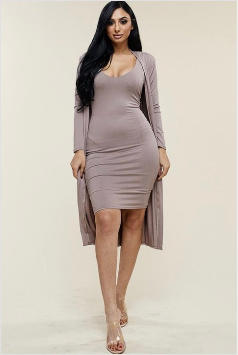 Plus Size 2-Piece Duster and Midi Length Bodycon Dress in Mocha