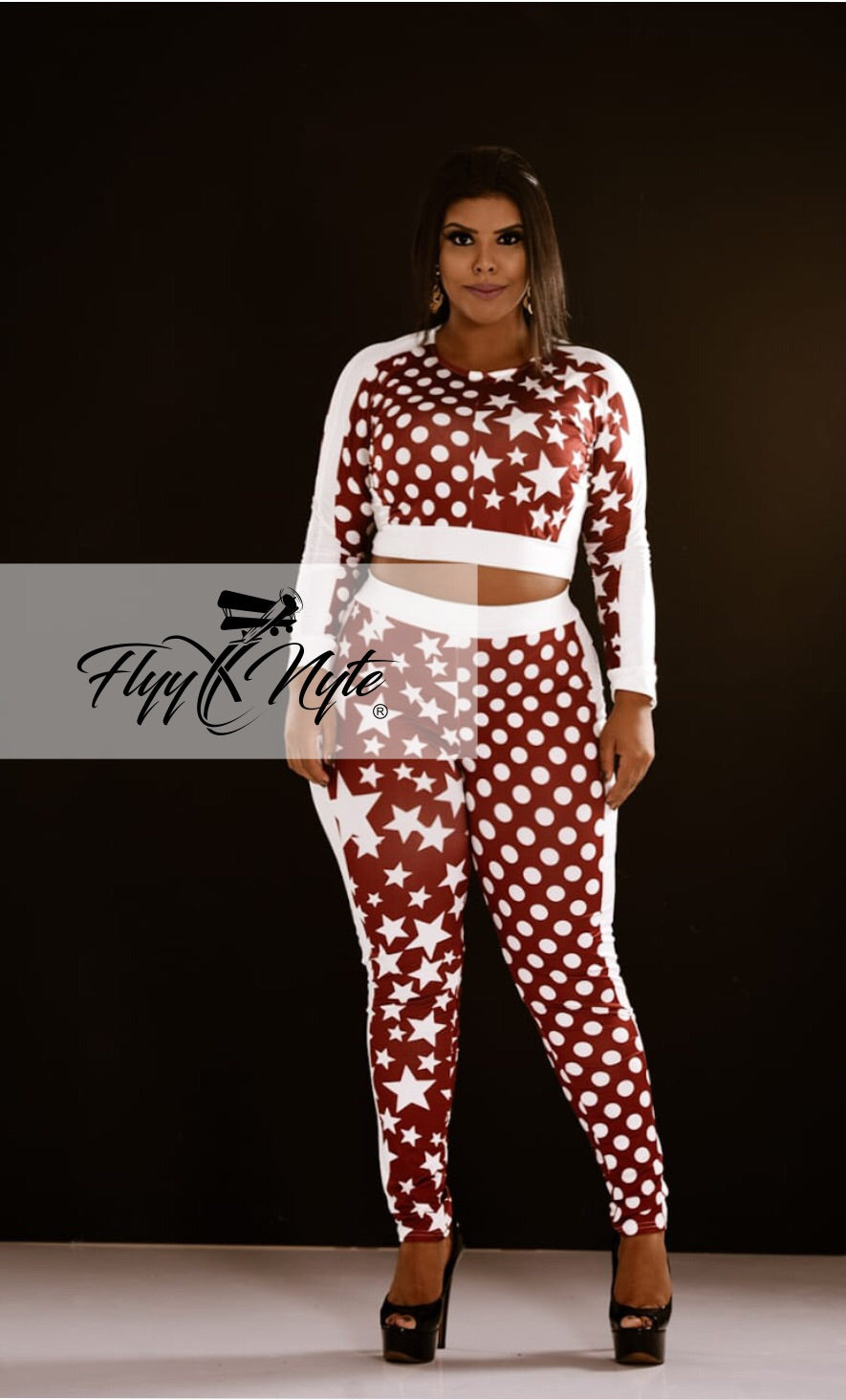 Plus Size STARS 2-Piece Set in Wine