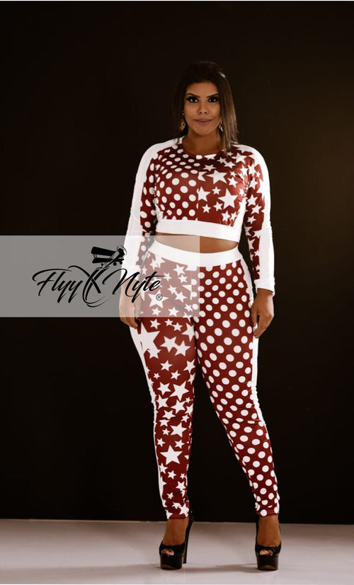 Plus Size 2-Piece Crop Top and Pants Set in Wine and White