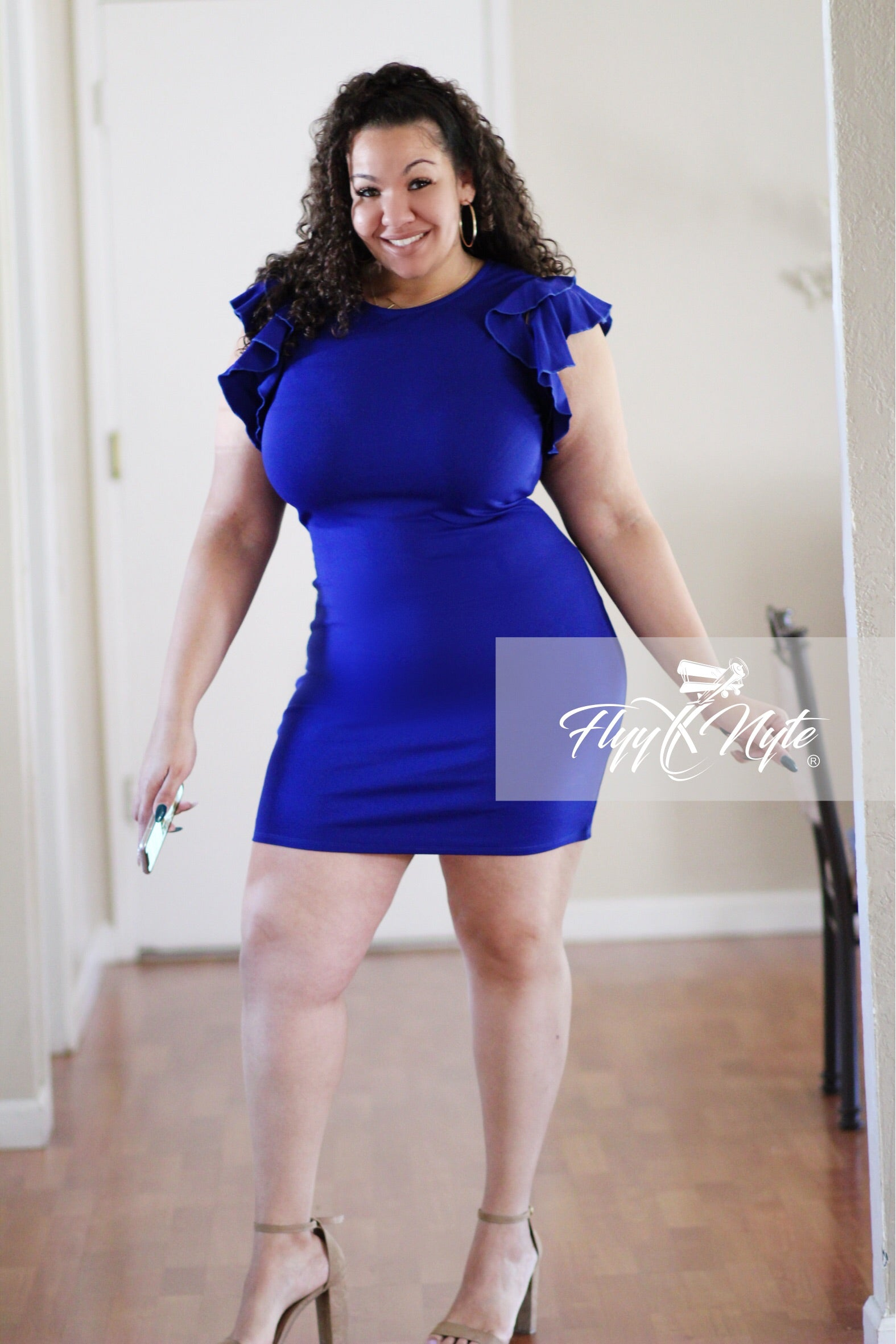 Plus Size Bodycon Ruffle Sleeve Mini in Royal Blue