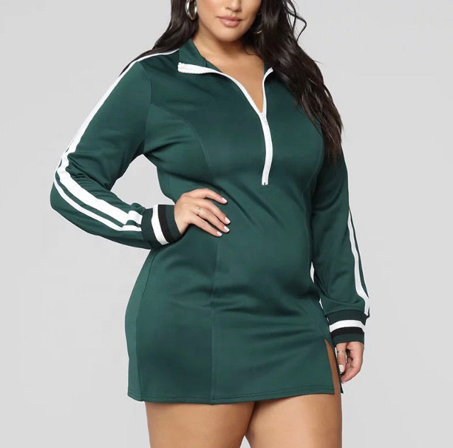 Plus Size Bodycon Jersey Dress with Front Zipper in Heather Green and White