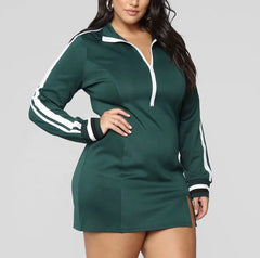New Plus Size Bodycon Jersey Dress with Front Zipper in Heather Green and White