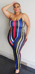 Plus Size Spaghetti Strap Bodysuit in Red Blue and Yellow