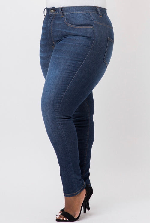 Plus Size Denim Jeans in Dark Wash - Flyy By Nyte