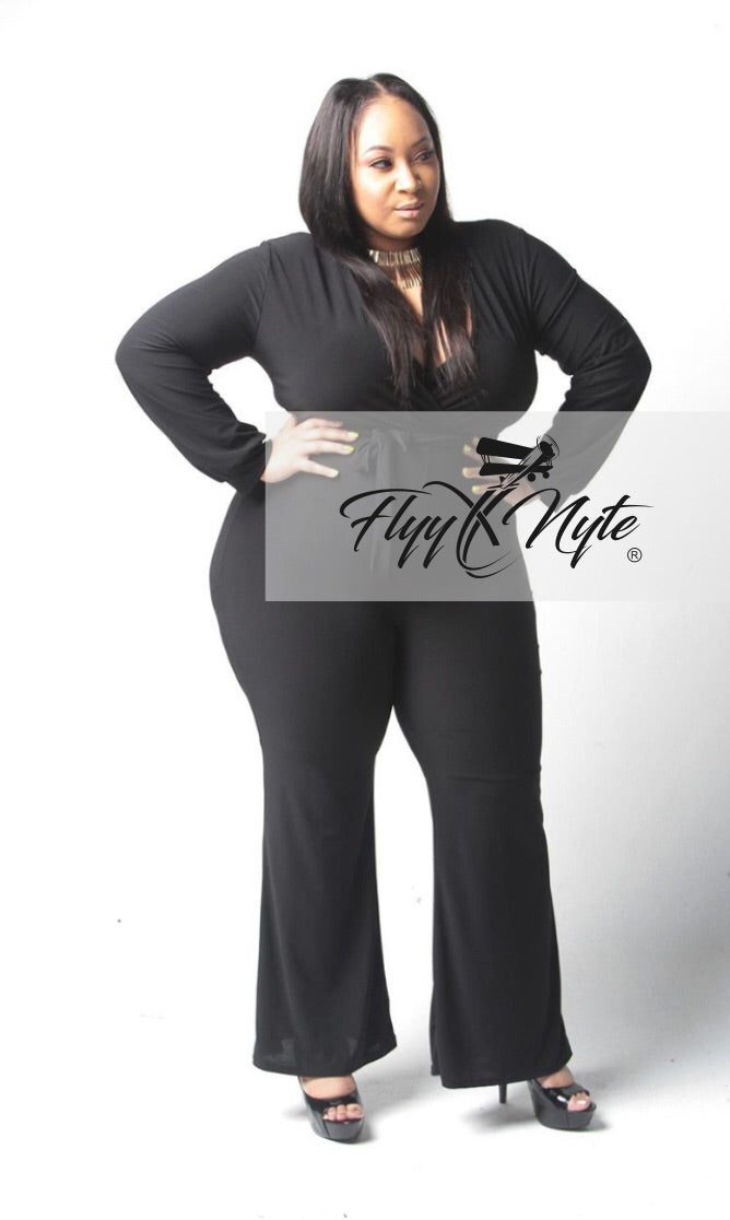 Plus Size Long Sleeve Jumpsuit with Attached Tie in Black
