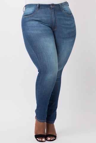New Plus Size Ripped Jeggings in Royal Blue