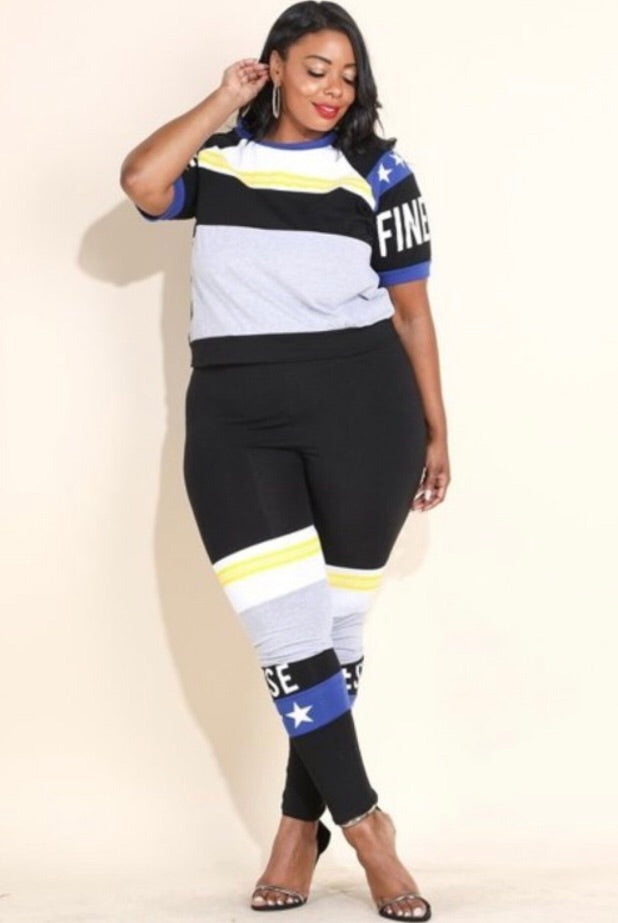 Final Sale Plus Size FINESSE 2-Piece Short Sleeve Short and Legging Set in Black Grey Royal Blue and Yellow