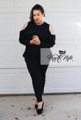Plus Size 2-Piece Cold Shoulder Top and Pants Set in Black