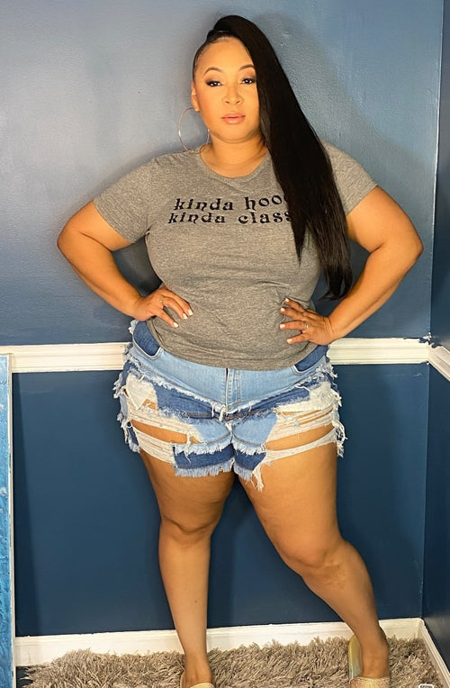 Plus Size Distressed Denim Shorts in Medium Blue Wash