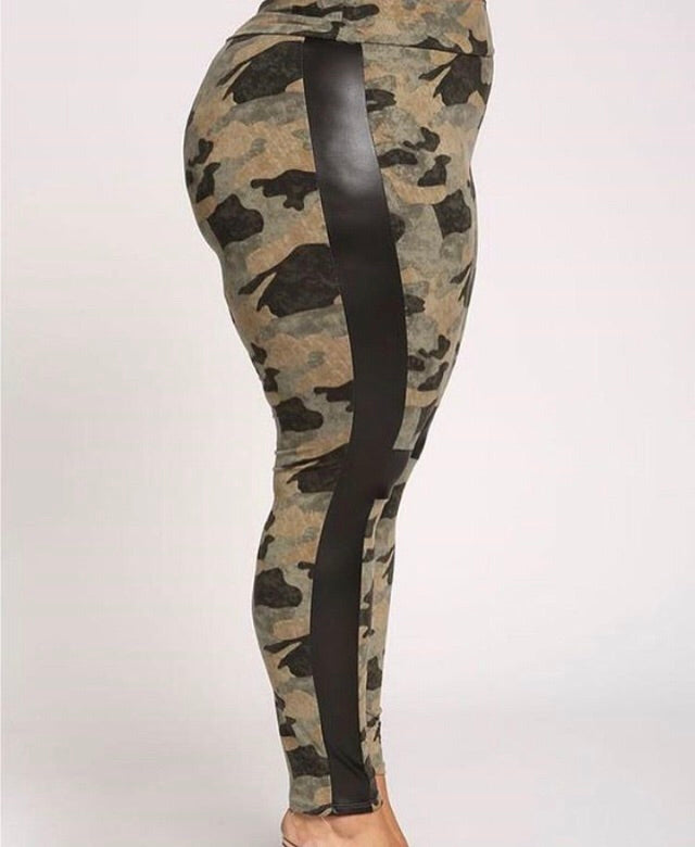 Plus Size Camo Leggings with Black Leather Accents