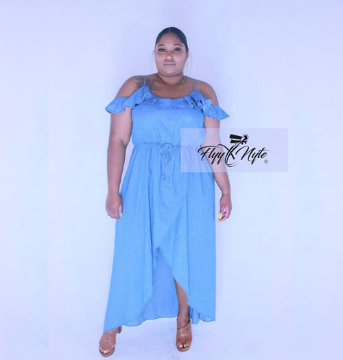 Plus Size Cold Shoulder Denim Maxi Dress with Hi-Low Hem in Medium Wash
