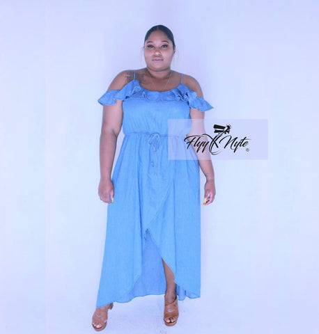 Plus Size Off Shoulder Peplum Dress with Attached Tie in Teal