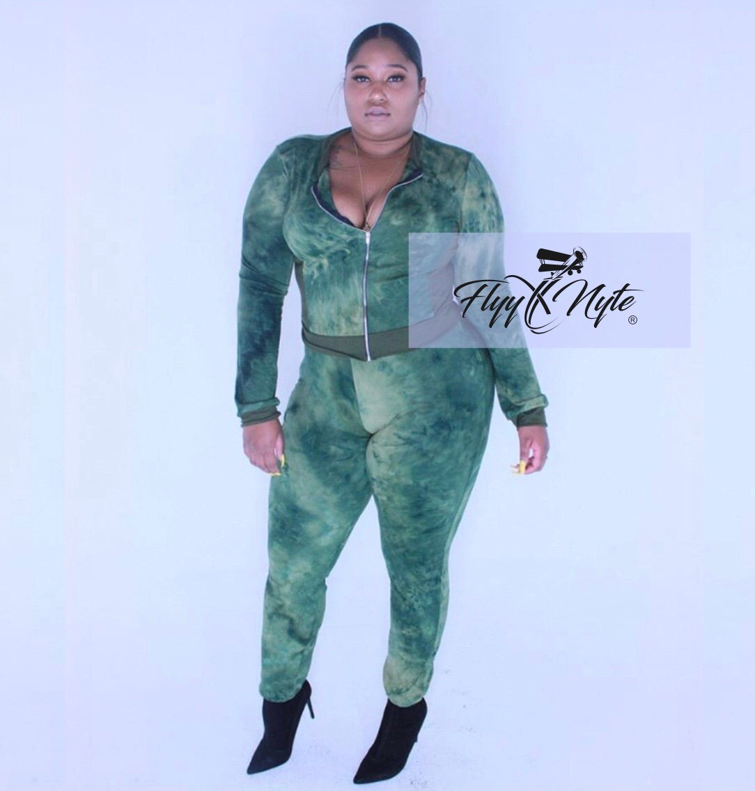 Plus Size 2-Piece Tie Dye Zipper Jacket and Fitted Pants Set in Olive and Mustard