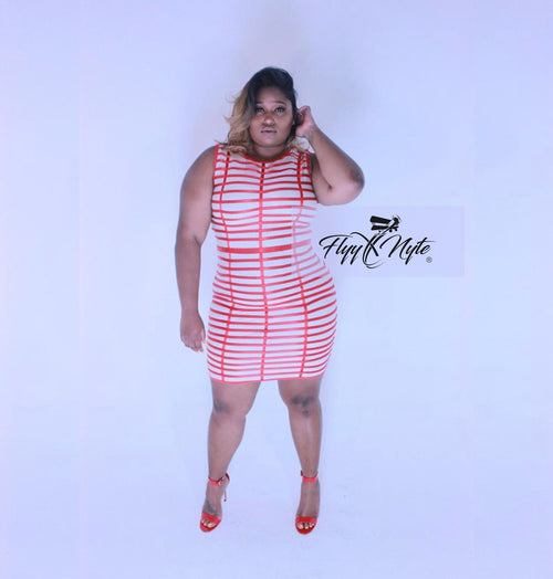 Plus Size Red Ribbon Sleeveless Mini Dress in Red and Cream