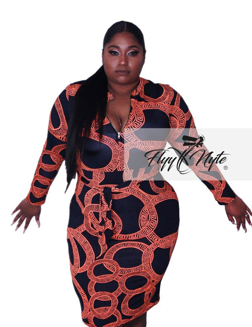 Plus Size Faux Wrap Mini with Attached Tie in Orange and Black
