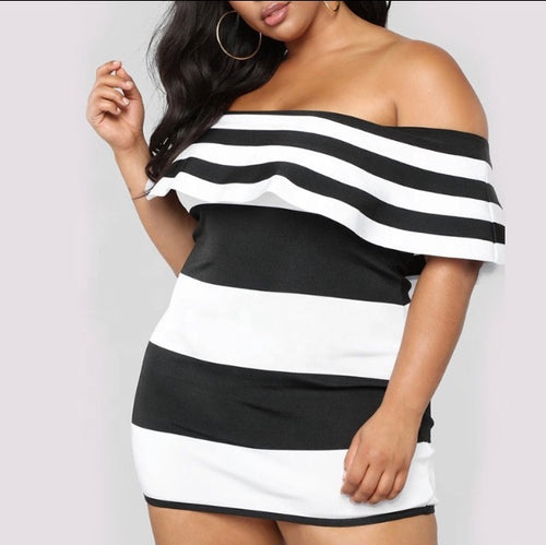 Plus Size Floss This Off Shoulder Mini Dress in Black and White
