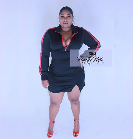 New Plus Size Hooded Mini Dress in Black