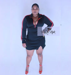 New Plus Size Bodycon Jersey Dress with Front Zipper in Black and Red