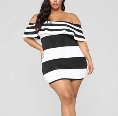 New Plus Size Off Shoulder Color Block Mini in Black and White