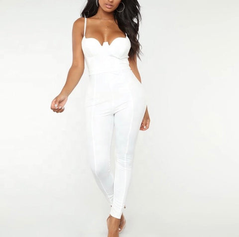 Plus Size Regal Jumpsuit with Attached Tie in Black and White