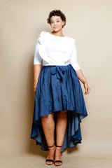 Women's Plus Size CHELSEA Hi-Lo Denim Skirt in Dark Wash - Flyy By Nyte