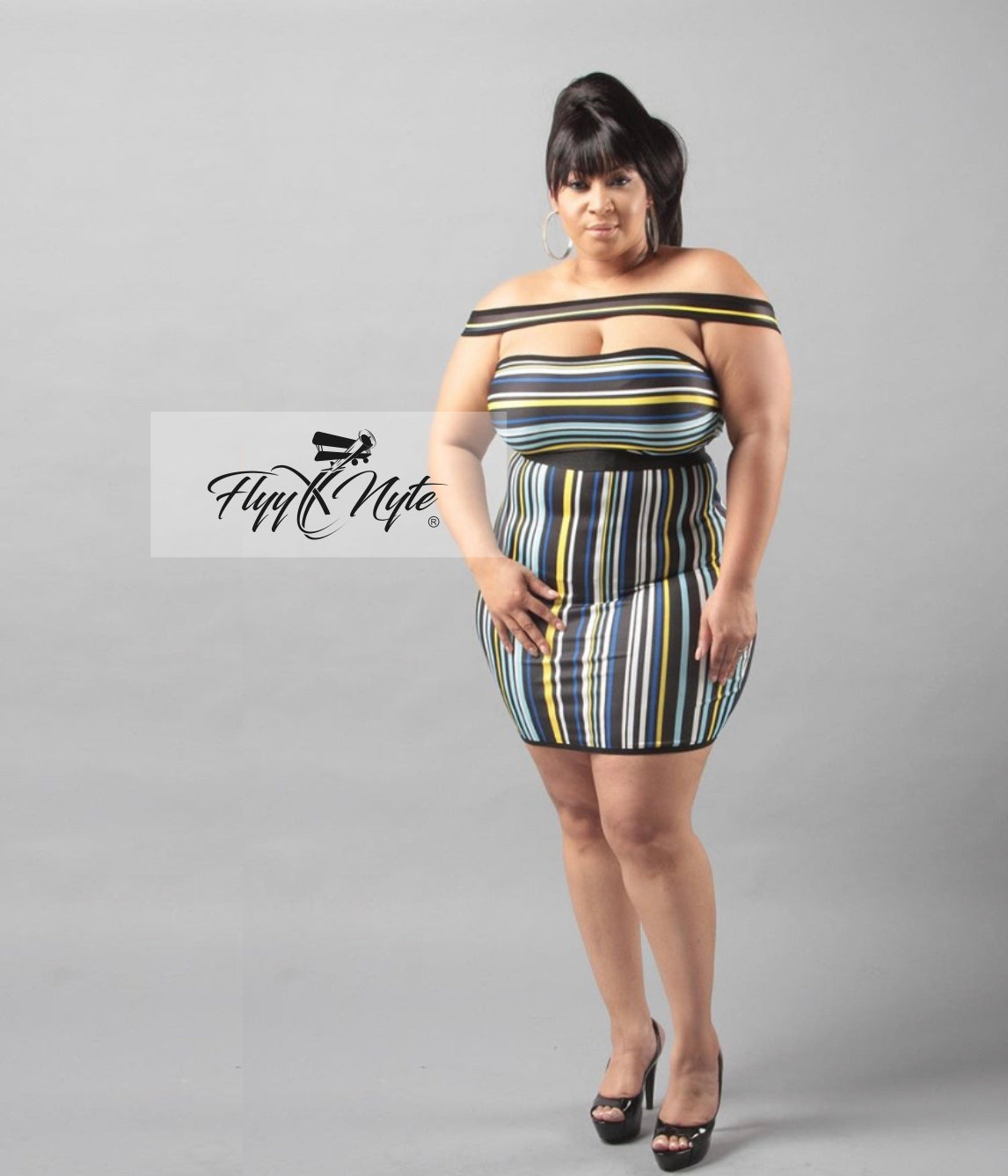 Plus Size Black Licorice Off Shoulder Dress with Candy Stripes