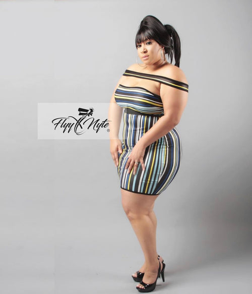 Plus Size Off Shoulder Bodycon Mini in Black Blue and Yellow