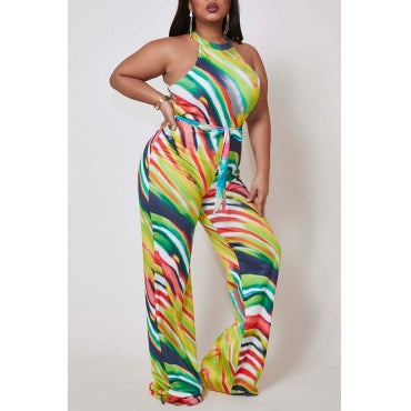 New Plus Size Halter Jumpsuit with Attached Tie in Green Pink and White